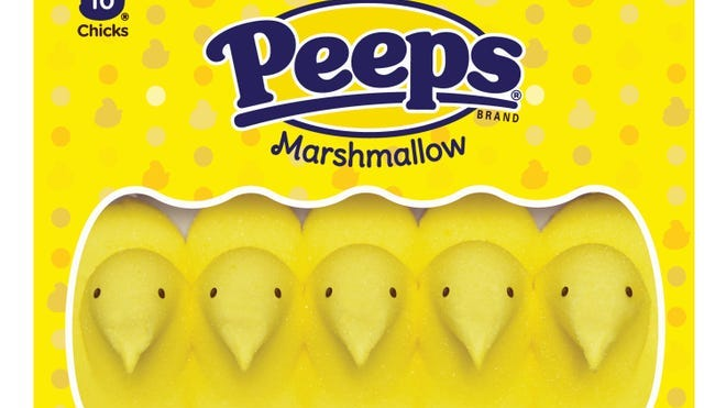 The classic yellow packaging of Peeps.