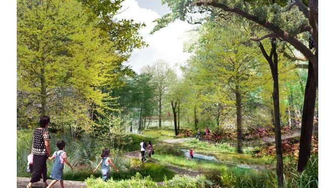 A rendering of the ravine garden proposed for the horse farm.