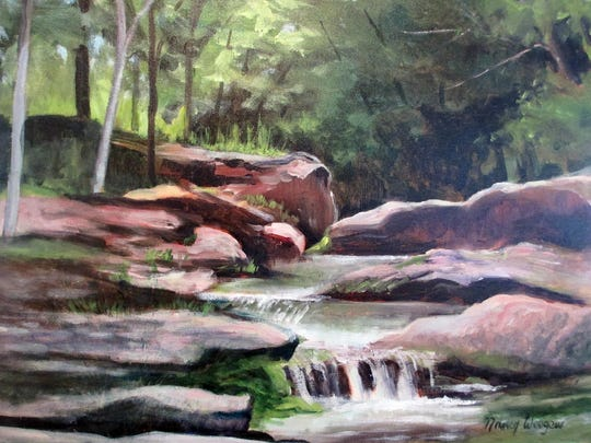"""Kaaterskill Falls,"" a painting by Kate Vikstrom, is part of the ""Women Artists of the Hudson Valley"" exhibit at the Howland Cultural Center in Beacon through April 3."
