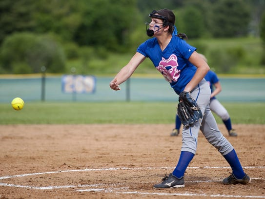 Colchester's Alli Sheets fires a pitch to the plate