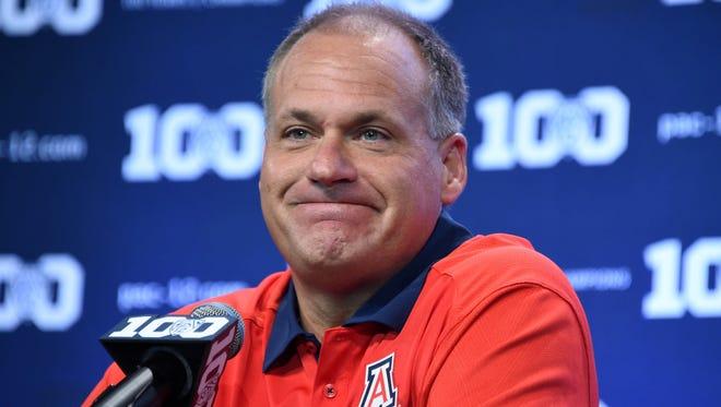 July 31, 2015; Burbank, Calif.; Arizona Wildcats coach Rich Rodriguez answers question at Pac-12 Media Days at Warner Bros. Studios.