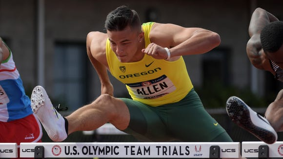 Jul 9, 2016; Eugene, OR, USA; Devon Allen of Oregon wins 110m hurdles semifinal in 13.40 during the 2016 U.S. Olympic Team Trials at Hayward Field. Mandatory Credit: Kirby Lee-USA TODAY Sports