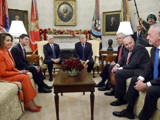 President Donald Trump and Vice President Mike Pence meet with Congressional leadership - DC
