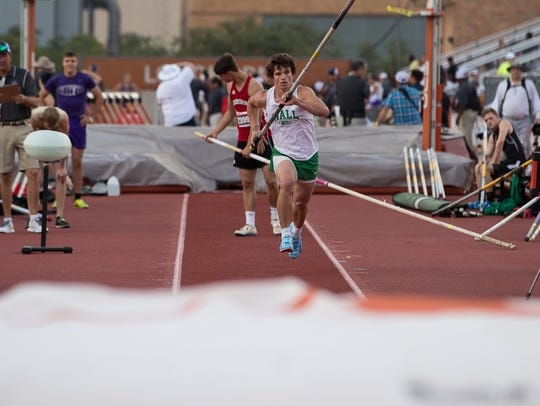 In his third consecutive trip to the UIL State Track and Field Championships, Wall's Garrett Stephens won the gold medal in the Class 3A boys pole vault, May 11, 2018.