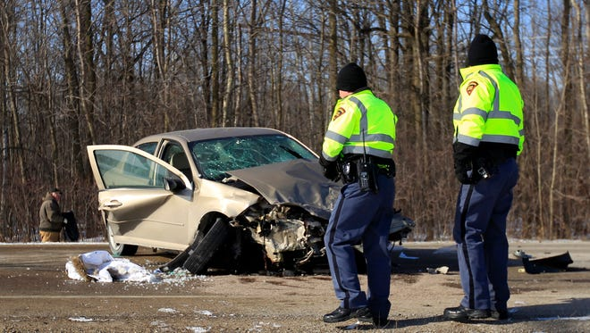 Police, fire and rescue on the scene of a two car crash on State 55 on Tuesday in the Town of Oneida.