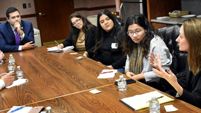 Freeholder Chairman Sergio Granados meets with members of Make the Road New Jersey (from left) Lauren Herman, Sara Mora, Nedia Morsy and Sara Cullinane, director of Make the Road New Jersey.