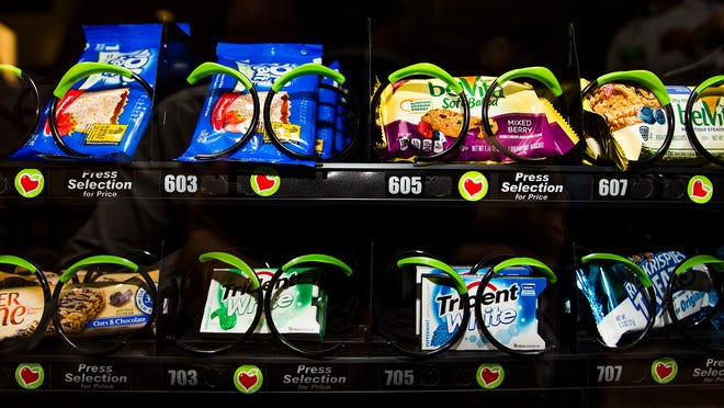 This is a sample of the healthier options placed in a vending machine at Banner Baywood Medical Center in Mesa, Tuesday, January 20, 2015.