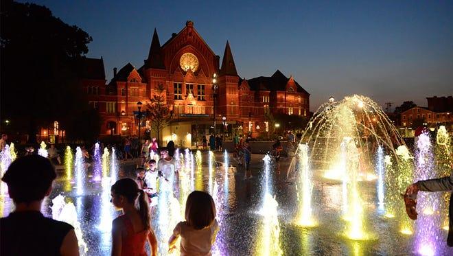 Washington Park features illuminated fountains.