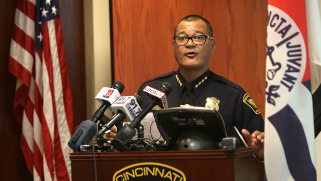 Cincinnati Police Chief Jeffrey Blackwell speaks during a recent press conference regarding a police-involved shooting in Northside.