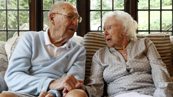 Larchmont couple Bob and Syrilda Helgren have been married for 75 years. Bob is 101 years old, and Syrilda will be turn 100 in September.