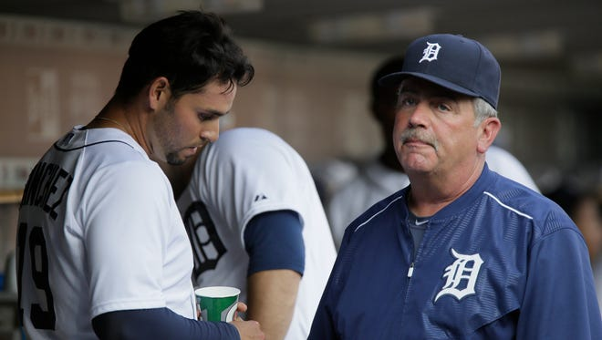 Detroit Tigers pitching coach Jeff Jones, right, speaks with Anibal Sanchez on July 3, 2015, in Detroit.
