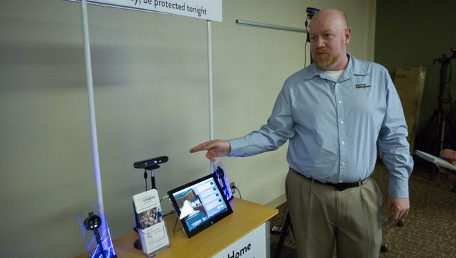 Bryan Chasko, the chief technology officer for Electronic Caregiver, explains Addison, the company's new virtual assistant that can measure many medical conditions. Wednesday April 4, 2018.