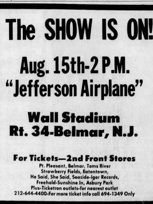 Ad in the Aug. 1 Asbury Park Press proclaims the Jefferson Airplane show is on!