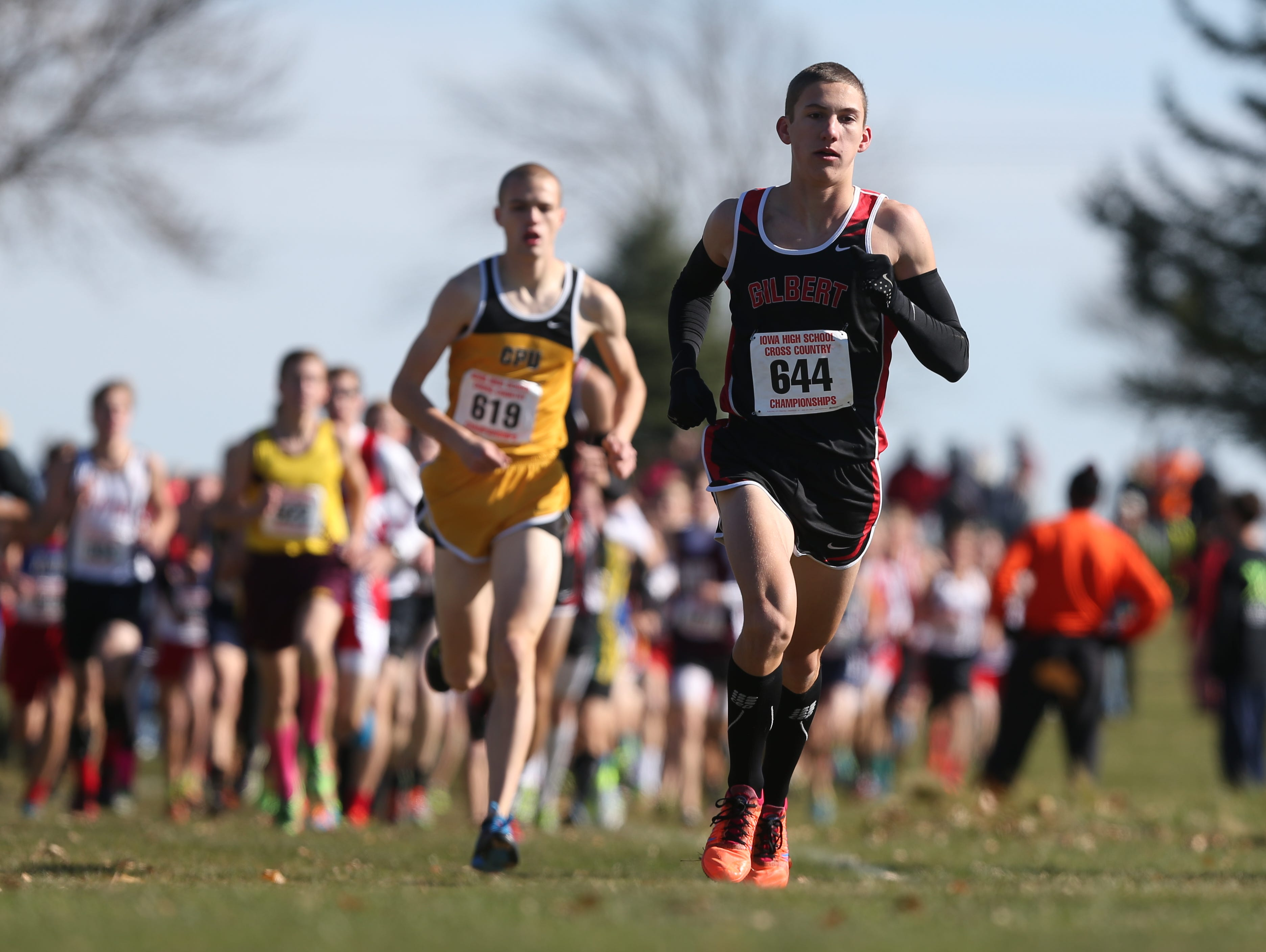 Thomas Pollard of Gilbert leads a pack of runners during the Iowa High School state cross country meet on Saturday, Nov. 1, 2014, at Kennedy Park in Fort Dodge, Iowa.