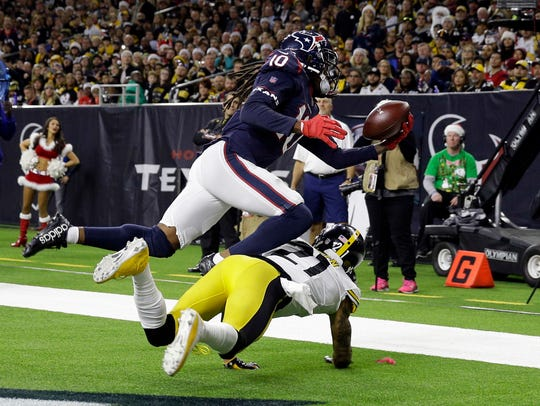 DeAndre Hopkins of the Texans leads all receivers with