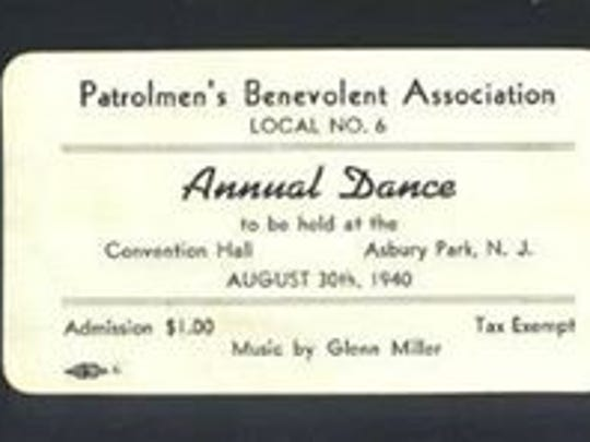 "A ticket to the Asbury Park Patrolmen's Benevolent Association's annual dance on August 30, 1940, featuring ""Music by Glenn Miller."""