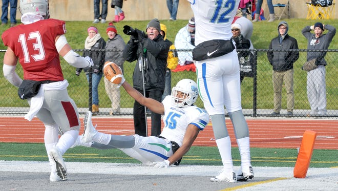 UWF wide receiver Kevin Grant hauls in a touchdown catch against Indiana (Pa.) on Saturday in Indiana, Pennsylvania.