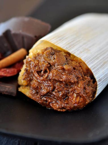 The chicken mole tamale from The Tamale Store.