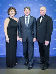 Chairwoman of the Board Melissa Charles and former Commissioner Randy Boyd with President of the Chamber Rick Meredith at the Anderson County Chamber of Commerce 85th anniversary gala.