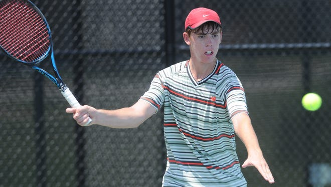 San Antonio's Trey Hilderbrand returns a shot against longtime friend and doubles partner Campbell Erwin of San Antonio in their Boys 18 Singles match Wednesday, June 13, 2018 at HSU's Streich Tennis Center. Hilderbrand, the No. 1 seed, won 6-2, 6-1.