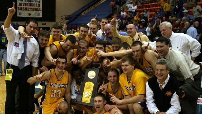 A boisterous Pointers team celebrates back-to-back national championships following its 2005 victory.