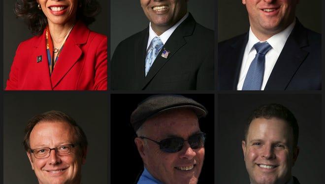 Candidates for Congress. Top, left to right: Lisa Blunt Rochester (D), Mike Miller (D), Townsend (D), Hans Reigle (R), Scott Walker (D), Sean Barney (D)