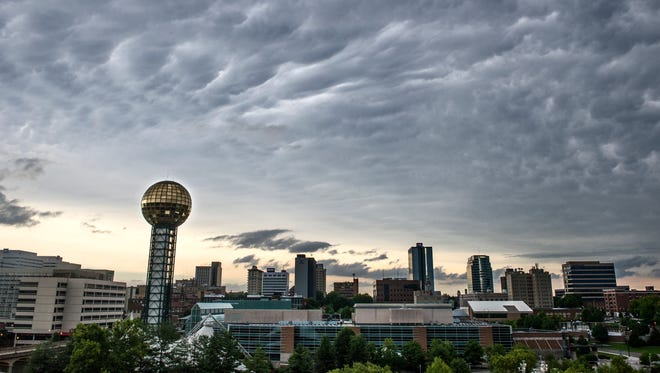 Clouds pass over downtown Knoxville in this file photo.