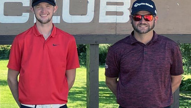 Ryan Hansen, left, finished first and A.J. Mertz was runnerup for the Dunes Club Championship golf tournament held July 25-26 at The Dunes Country Club. Hansen shot a 148 and Mertz a 149.