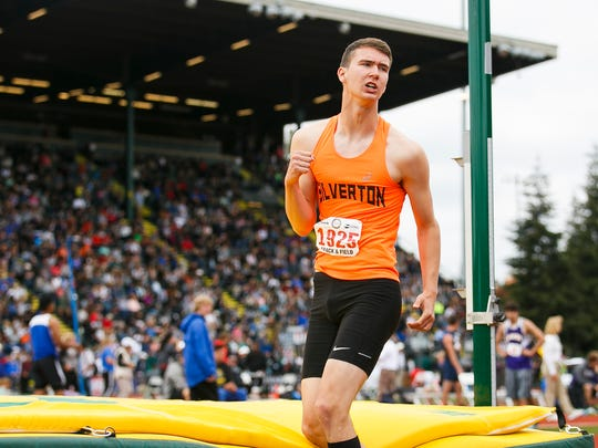 Silverton's Shon Akermann celebrates after a successful jump in the 5A high jump at the 2017 OSAA track and field state championships on Saturday, May 20, 2017, at Hayward Field in Eugene, Ore.