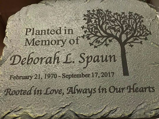 This plaque will be placed next to a tree that is set