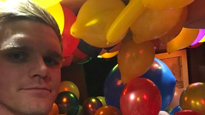 Conor Daly's trailer was filled with balloons when he got back from media day