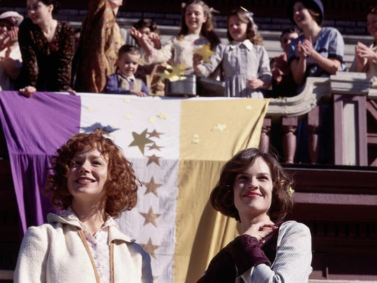 """Frances O'Connor, left, and Hilary Swank star in HBO's feature film """"Iron Jawed Angels."""" (Gannett News Service, Sarah Demmie Todd/HBO)"""