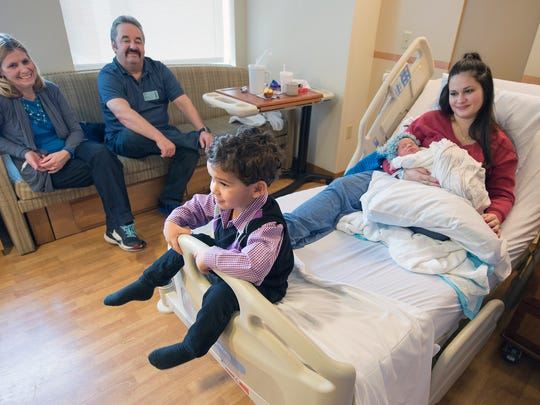From left: Grandparents Julie and Jeff Callender, Mason Banks, age 3, and Erica Callender, holding Madden Banks at York Hospital. Madden was born at 5:30 a.m., the first 2017 baby born in a York County hospital.