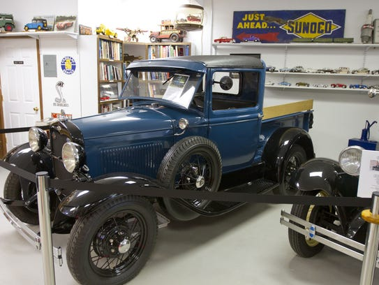 A 1931 Ford Model AA pickup truck on display at the