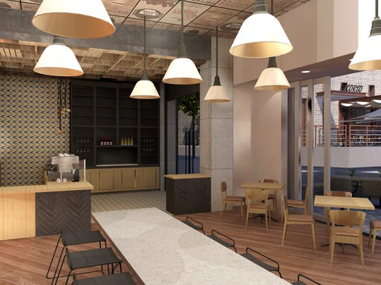A rendering of the inside of Juniper Table, one of the restaurants opening at the Kimpton Rowan Palm Springs.