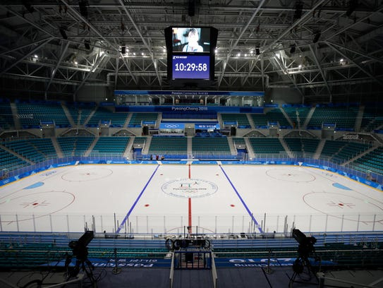 A general view of the Gangneung Hockey Center is seen