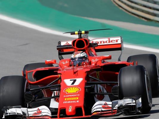 Ferrari driver Kimi Raikkonen, of Finland, steers his car during the first free practice at the Interlagos race track in Sao Paulo, Brazil, Friday, Nov. 10, 2017. Brazil will stage the Formula One Grand Prix's penultimate race of the season on Sunday. (AP Photo/Andre Penner)