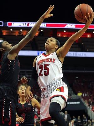 Louisville's Asia Durr hooks a shot over SEMO's Kennedi Allen.