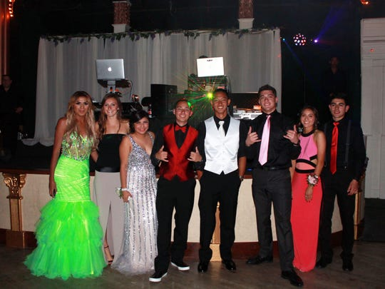 From left, on prom night: Angie Esteban, Avery Pura, Giselle Villalobos, Ryan Cohen, Justin Voong, Rigo Marquez, Hannah Martinez and Javier Perez.