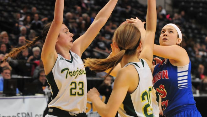 Courtney Wise (20) looks to take a shot as Union City fell to Wood Memorial 68-43 in the IHSAA Class A girls basketball state championship game at Bankers Life Fieldhouse Saturday, Feb. 25, 2017.