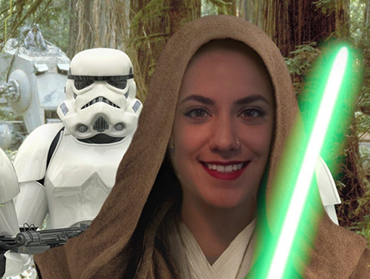 The Selfie feature in the official Star Wars app lets users snap pics as Jedis, X-wing pilots and more.