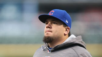 Schwarber is batting fifth for the Cubs in Game 1.