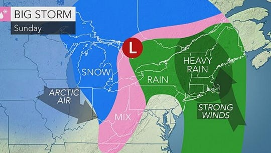 Heavy rain and record high temperatures are expected for Sunday.