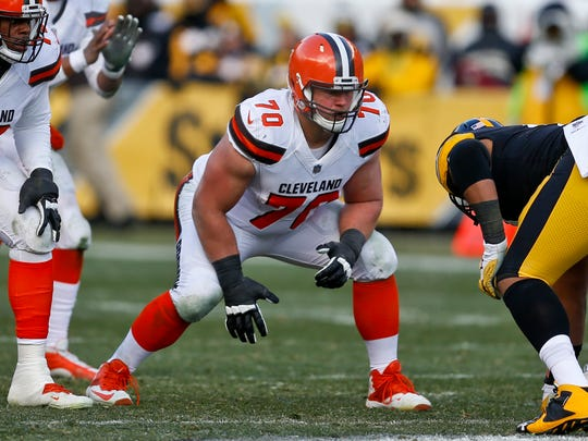 FILE - In this Dec. 31, 2017, file photo, Cleveland Browns offensive guard Kevin Zeitler (70) lines up against the Pittsburgh Steelers during the first half of an NFL football game in Pittsburgh. Zeitler did not participate in practice Thursday, Aug. 2, 2018, because of a calf injury. The 28-year-old Zeitler was hurt Wednesday and walked off the field with a trainer. (AP Photo/Keith Srakocic, File)
