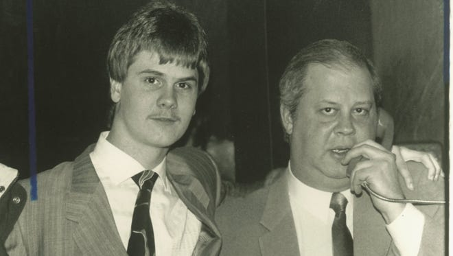 Richard Wershe Jr., left, stands with his attorney, William Bufalino II, in Recorder's Court in Detroit on January 14, 1988.