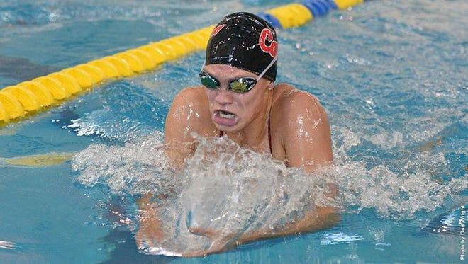 Central York High School graduate Jade Arganbright broke two pool records on Saturday for the California University of Pennsylvania women's swimming team.