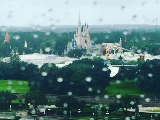 A view of a rainy Magic Kingdom supplied by the Bledsoe