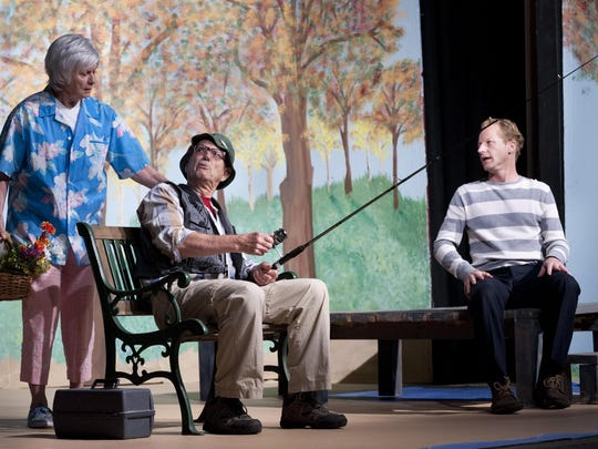 "Irene Morse, left, Keith Lindersmith and Aaron Johnson rehearse a scene from Visalia Players production of ""The Outgoing Tide"" on Monday,March 21, 2016."