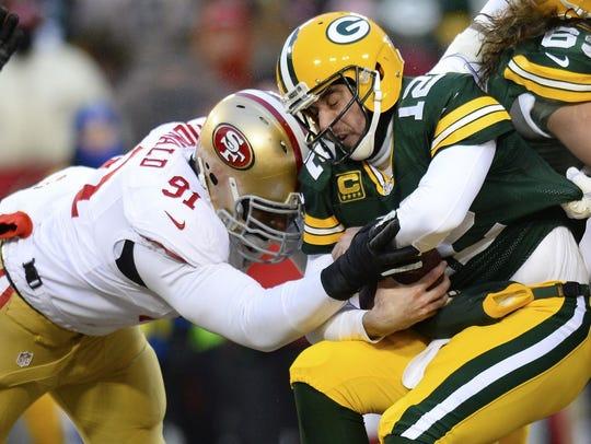 San Francisco 49ers defensive end Ray McDonald sacks