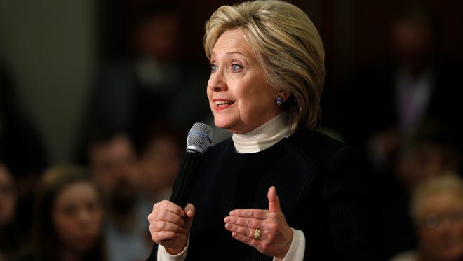 Democratic presidential candidate Hillary Clinton speaks during a town hall in Toledo, Iowa, on Jan. 18, 2016.